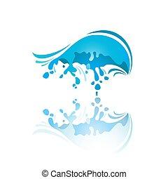 Splash color Wave with reflection - Splash blue wave with...