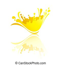 Splash color Wave with reflection - Splash yellow wave with...