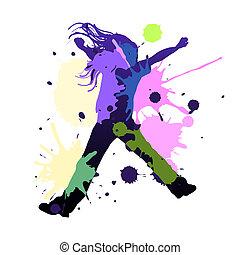 Splash dance - Happy young girl dancing in splash colors,...