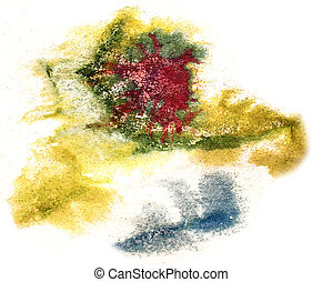 splash green, red, blue paint blot watercolour color water ink isolated watercolor background