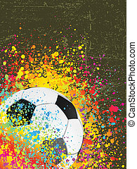 Splash grunge background with a soccer ball. EPS 8 vector...