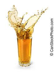 splash in a glass of juice