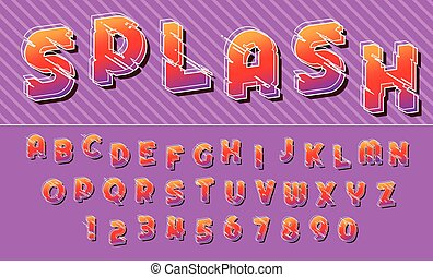 Splash lines colorful font design letters and numbers Vector alphabet