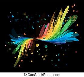Splash multicolored element on black