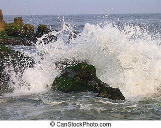 Ocean hitting rocks