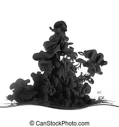 Splash of black ink in dropped into the water on white -...