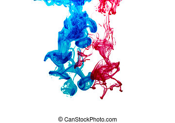Splash of blue and red paint