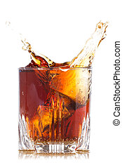 Splash of brown beverage