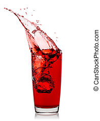 Splash of cherry juice in glass