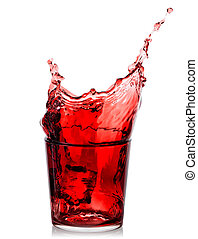 Splash of cherry juice in low glass