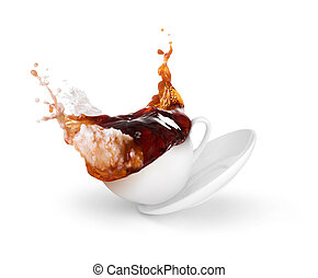 splash of coffee with milk in a cup