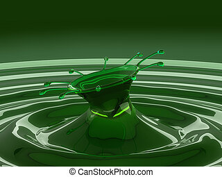 Splash of colorful green fluid with droplets and waves