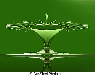 Splash of colorful green liquid with droplets and water crown