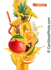 Splash of juice and sweet tropical fruits. Mango, banana, pineapple, papaya, orange. 3d realistic vector