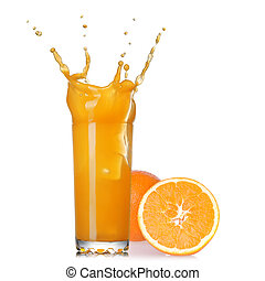 splash of juice in the glass with orange isolated on white