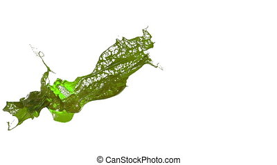 splash of liquid like green juice in the air move in slow motion. 3d render liquid with very high detail. Version 6