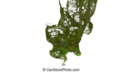 splash of liquid like green juice in the air move in slow motion. 3d render liquid with very high detail. Version 5