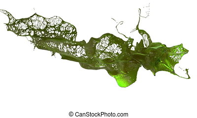 splash of liquid like green juice in the air move in slow motion. 3d render liquid with very high detail. Version 2