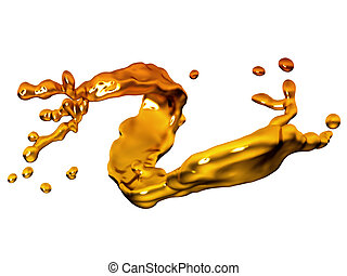 Splash of melted gold with drops