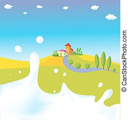 splash of milk - vector illustration with green field, village and natural background