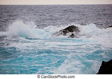 splash of ocean waves on rocks