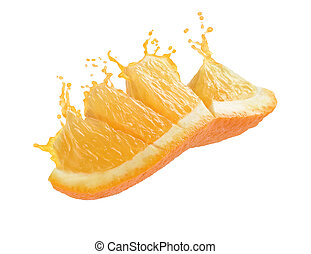splash of orange juice with a slice of orange