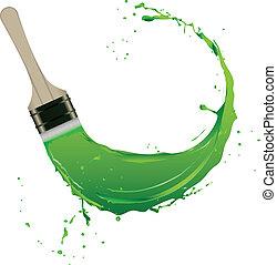 Splash of paint with brush stroke. Vector illustration.