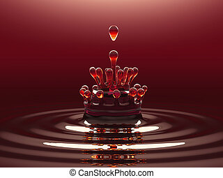 Splash of red colorful liquid or wine with droplets