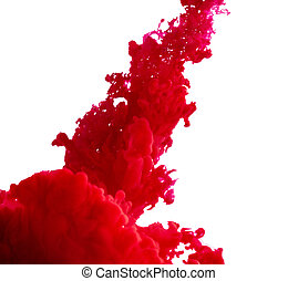 splash of red paint on a white background