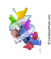Splash of water in the form of a spiral with clothes on a white background.