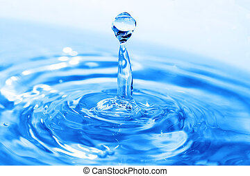 Splash of water on blue surface