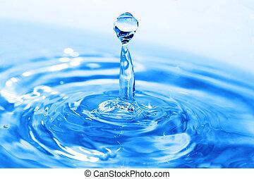 Splash of water on blue surface