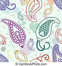 splash paisley pattern - seamless vector paisley pattern on...