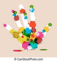 Splash Palm Hand Colorful Vector Illustration