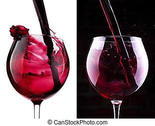 Splash red wine against a white background