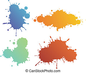 Splash shapes - Set of four different design isolated blur...