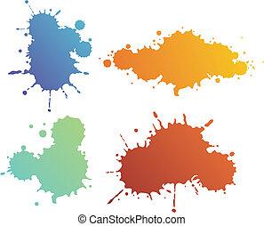 Splash shapes - Set of four different design isolated blur...