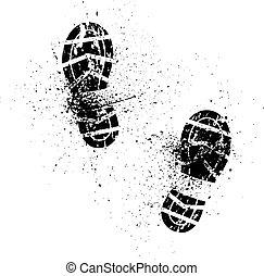 Splash shoe print - White background with ink splash and...