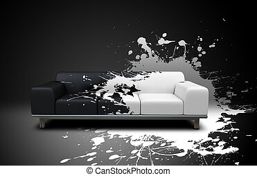 splash sofa - white splash on a black sofa
