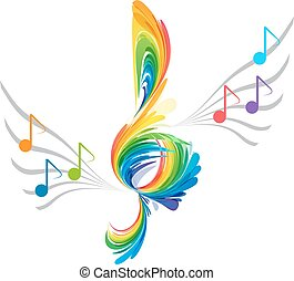 Splash treble clef and musical note - Rainbow splash treble...