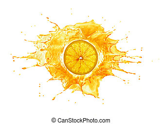 Splash with orange slice in the middle. Back lit. on white background.