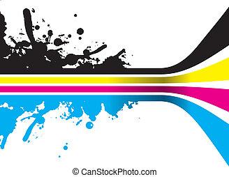 cmyk lines - splashed cmyk lines