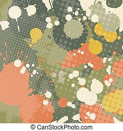 Splashed grunge halftone transparent abstraction vector illustration.