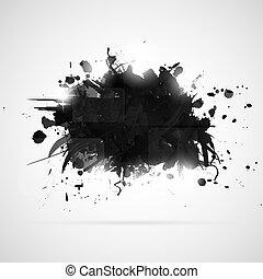 splashes., ペンキ, 抽象的, 黒い背景