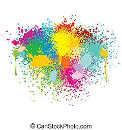 splashes., abstract, vector, kleurrijke, achtergrond