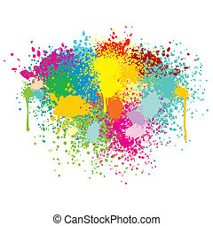 splashes., abstratos, vetorial, coloridos, fundo