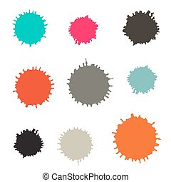 Splashes - Blots Stains Vector Set Isolated on White