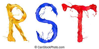 Splashes letters - Colored paint splashes alphabet letters...