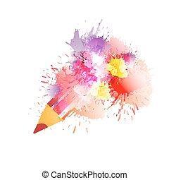 splashes., matita, concetto, creatività, colorito