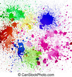 Splashes of colorful ink on white